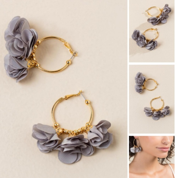 7a7e7d733 Jewelry   Fabric And Gold Floral Hoop Earrings   Poshmark